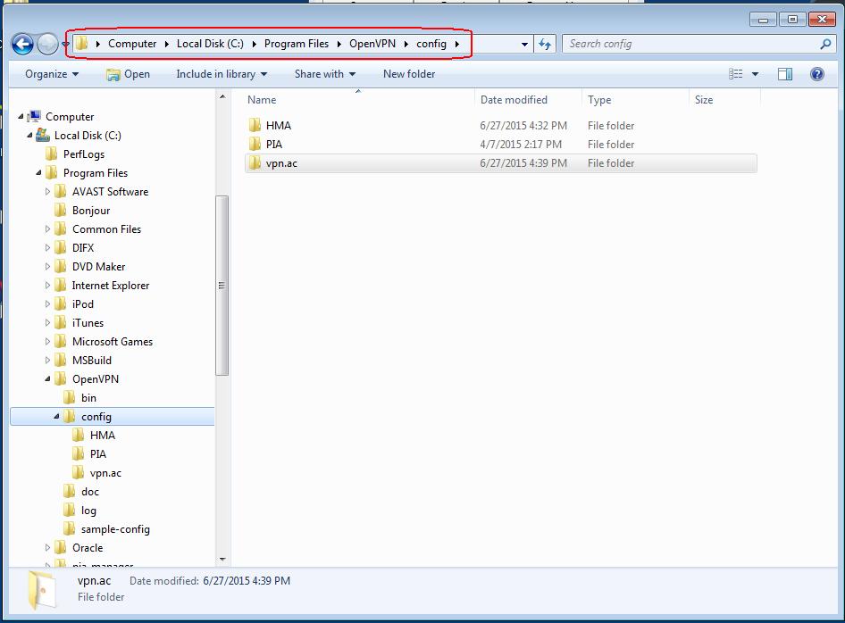 OpenVPN Config file directory