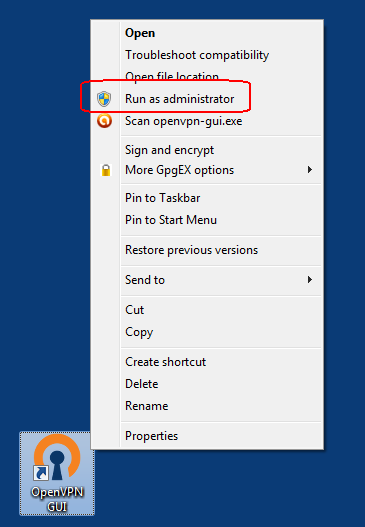 Run OpenVPN GUI as Administrator