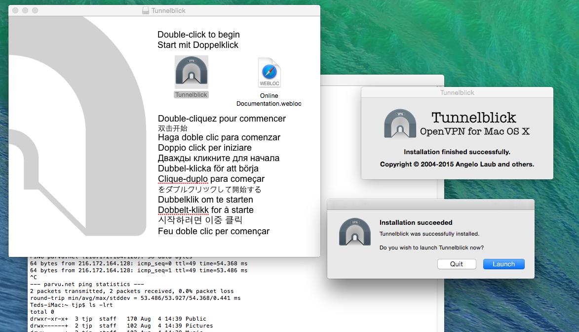Tunnelblick installed successfully