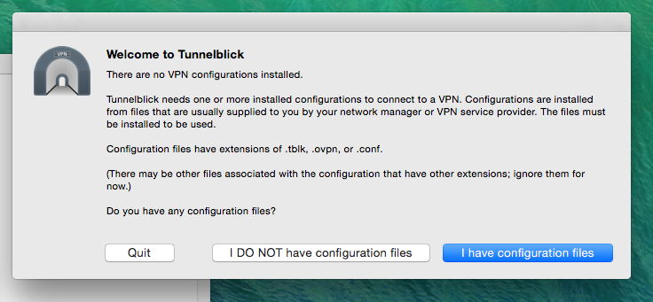 Tunnelblick configuration import