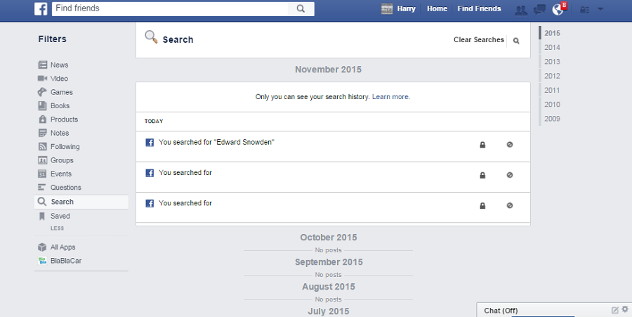 how to view your search history on facebook