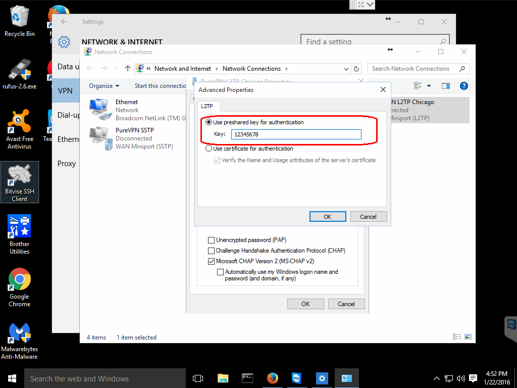preshared key win10 l2tp