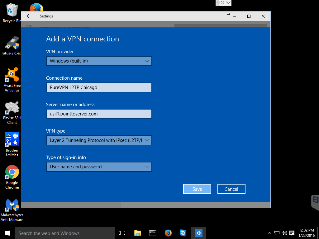 VPN Settings L2TP Win10