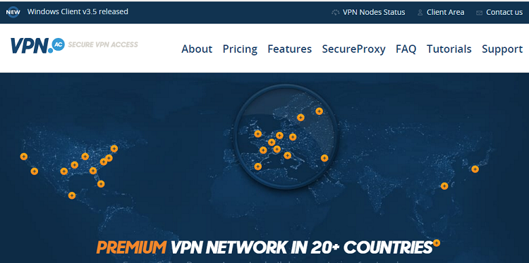 VPN.AC homepage