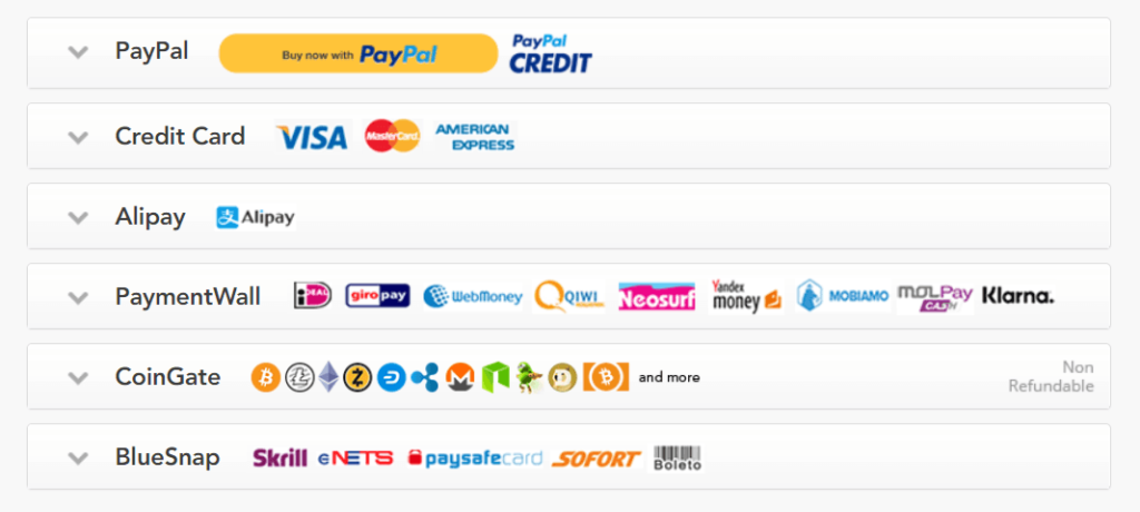 VPN payment methods