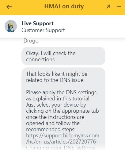 HideMyAss support