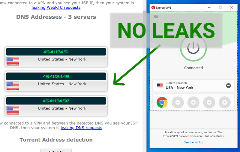 ExpressVPN leak test