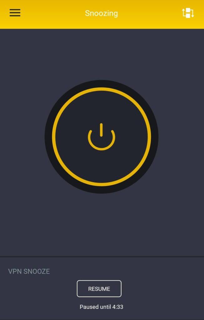 PIA VPN snooze