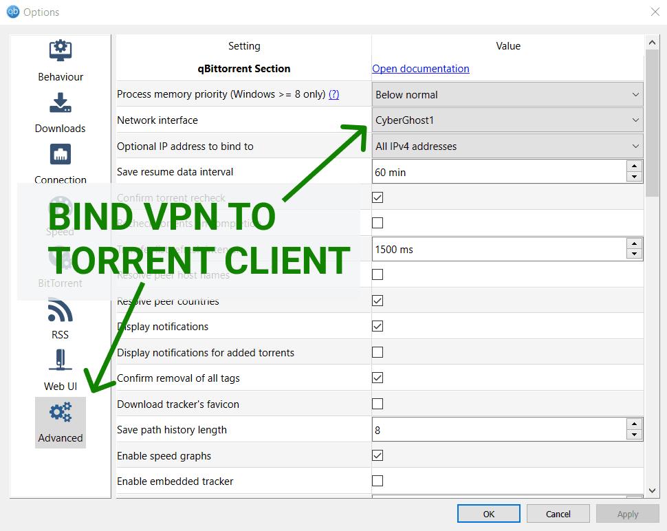qBittorrent bind to VPN